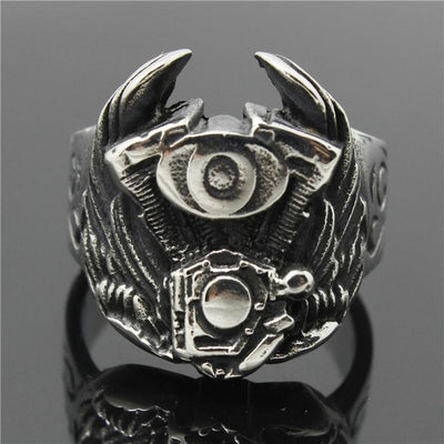 316L Stainless Steel Cool Flaming Biker Eagle Wing Engine Newest Ring - Mirage Novelty World