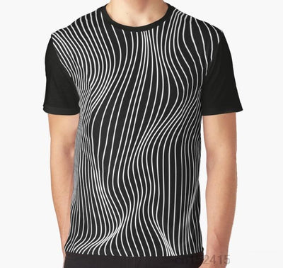 Optical Illusion Minimal Lines Graphic T-Shirt - Mirage Novelty World
