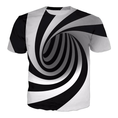 Black White Illusion 3D T shirt Visual Cool - Mirage Novelty World