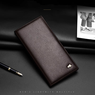 Long Purse Bag Wallet Business Men's Thin Genuine Leather Wallet Luxury Brand Design Handy Slim Male Wallet - Mirage Novelty World