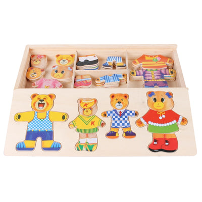 little bear change clothes Children's early education Wooden jigsaw Puzzle Dressing game Wooden Puzzle toys - Mirage Novelty World