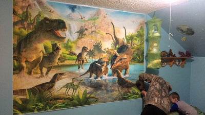 Dinosaur World Party Photography Backdrops Cartoon Wall Background for Photo Birthday Props Island - Mirage Novelty World