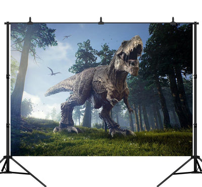3D Lifelike Dinosaur In Forest Photography Backgrounds Vinyl Custom Camera Photographic Backdrops For Photo Studio - Mirage Novelty World