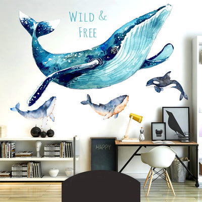 3D Large Blue Whale Cartoon Wall Sticker - Mirage Novelty World