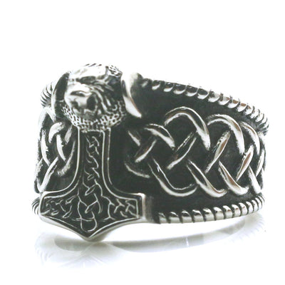 Mens Boys 316L Stainless Steel Cool Silver Punk Gothic Thor's Hammer Newest Ring - Mirage Novelty World