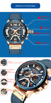 Watch Mens Watches Top Brand Luxury Men Casual Leather Waterproof Chronograph Men - Mirage Novelty World