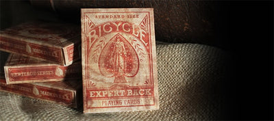 Expert Back Bicycle Playing Cards - Distressed Vintage Look Deck From USPCC Red Or Green Or Blue Magic Tricks - Mirage Novelty World