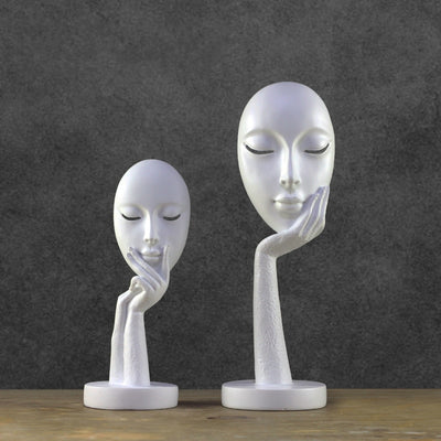 Modern Abstract Statues Sculpture Art Crafts Character Resin Figurine Lady Face - Mirage Novelty World