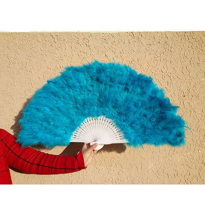 White Ladies Folded Feather Hand Fan Handmade Fans - Mirage Novelty World