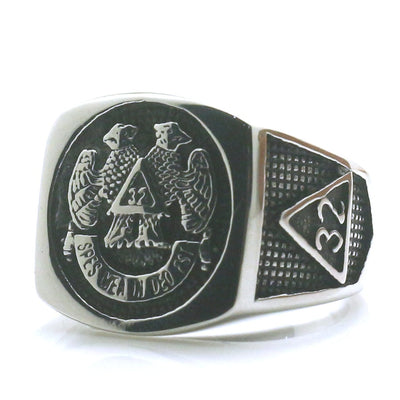 Mens Boys 316L Stainless Steel Cool Silver 32 Eagle Freemasons Ring Newest - Mirage Novelty World