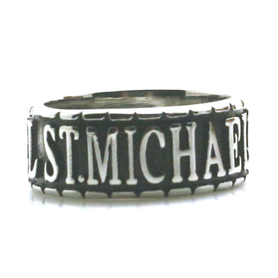 Unisex 316L Stainless Steel Saint Michael The Archangel Pray For Us Newest Silver Ring - Mirage Novelty World