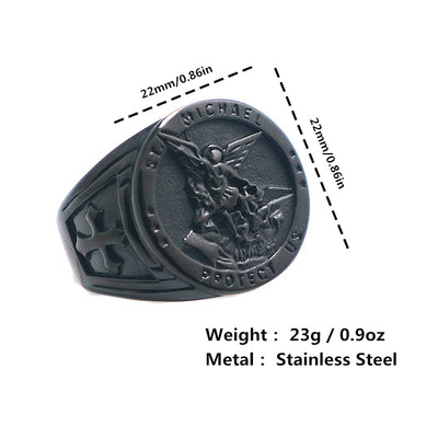 Mens Cross Saint Michael Protect US 316L Stainless Steel Black Ring - Mirage Novelty World