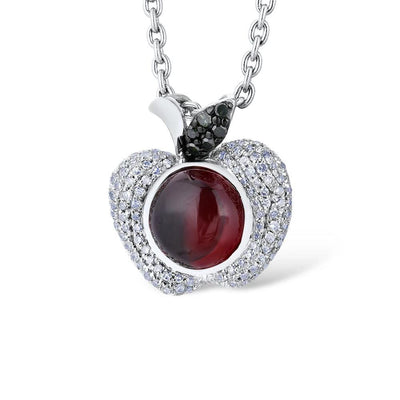 Gold Pendant For Women Authentic 14K 585 White Gold Red Apple Natural Garnet Shiny Diamond Necklace Pendant Fine Jewelry - Mirage Novelty World