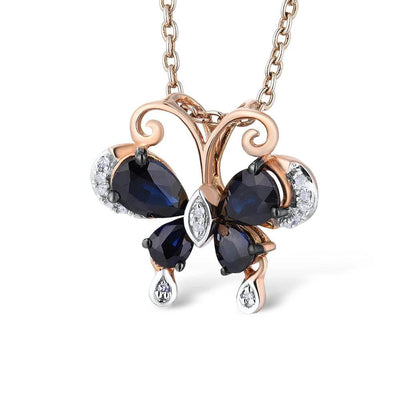 Gold Pendants For Women Pure 14K 585 Rose Gold Delicate Butterfly Blue Sapphire Sparkling Diamond Wedding Fine Jewelry - Mirage Novelty World