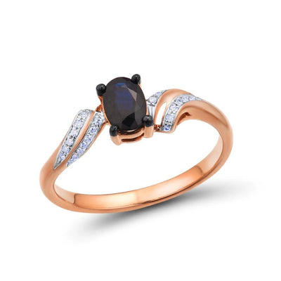 Gold Rings For Women Genuine 14K 585 Rose Gold Ring Sparkling Diamond Oval Blue Sapphire Simple Trendy Fine Jewelry - Mirage Novelty World