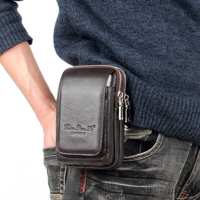 Men Leather Fanny Waist Bag Cell/Mobile Phone Coin Purse Pocket Belt Bum Pouch Pack Vintage Hip Bag High Quality - Mirage Novelty World