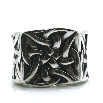 Mens Boys 316L Stainless Steel Cool Punk Gothic Viking Silver Ring - Mirage Novelty World