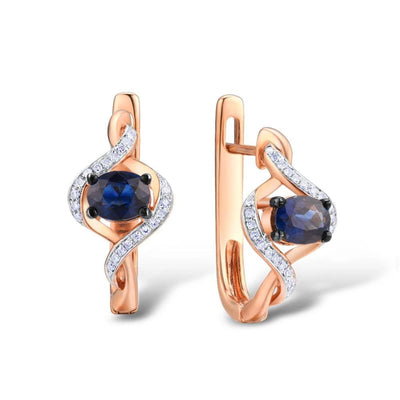 Gold Earrings For Women Genuine 14K 585 Rose Gold Luminous Blue Sapphire Luxury Diamond Vintage Anniversary Fine Jewelry - Mirage Novelty World