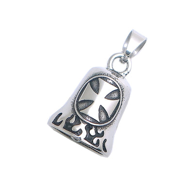 Men Boy 316L Stainless Steel Cool Newest Cross Biker Flaming Bell Pendant Newest For Gift - Mirage Novelty World