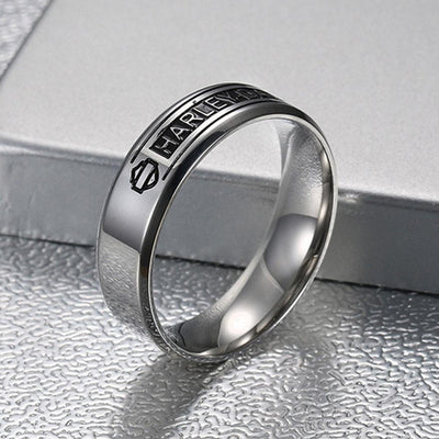 361 stainless steel ring motorcycle series, high polished Harley Logo Mens Rings - Mirage Novelty World