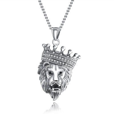 HipHop Gold color Titanium Steel Chain Men Crown Lion Head Pendant Inlay Rhinestone Necklace Link Chain Necklace Jewelry - Mirage Novelty World