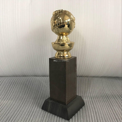 Golden Globe Award Trophy (10 Inches) with HFPA Logo Stamped In Gold-26cm high gold color good Golden Globe - Mirage Novelty World