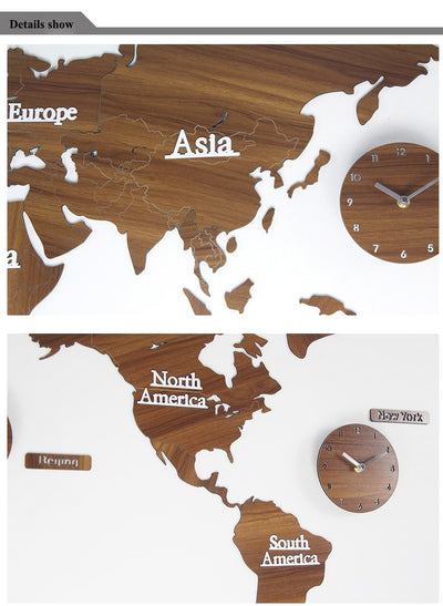 3D Creative Wooden World Map Wall Clock with Modern Style