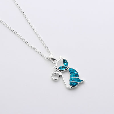Blue Opal Cat Necklace Set for Women Jewelry