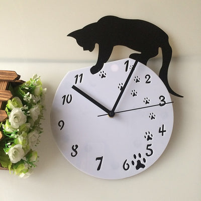 Wall Clock Cat with Acrylic DIY Black for Home Decor