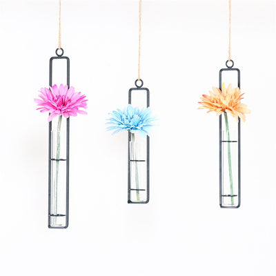 Hanging Flower Vase with Iron Glass Flower Pot
