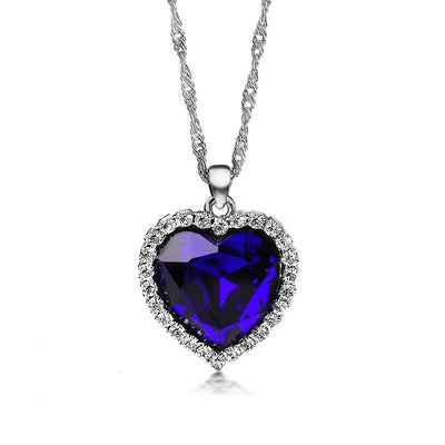 Silver Necklaces For Women with Blue Heart Crystal Rhinestone Jewelry