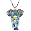 Jungle Elephant Necklace with Fashion Alloy Enamel Jewelry