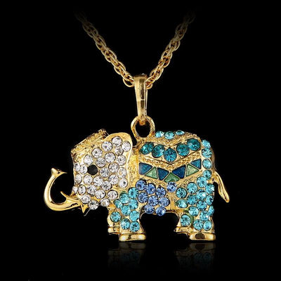 Gothic Rhinestone Crystal Elephant Necklaces for Pendant Jewelry