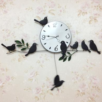 Modern Wall Clock with Birds Design for Home Decor