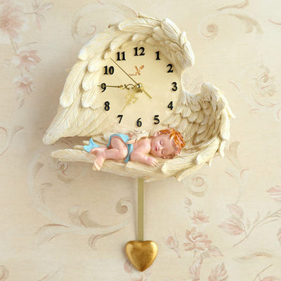 Vintage Wall Clock with Angel Design for Home Decor