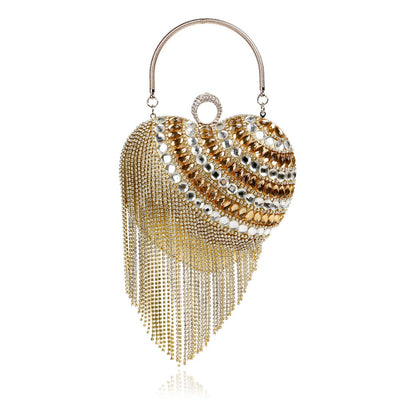Heart Tassel Diamonds Clutches for Evening bags and Clutch Bag