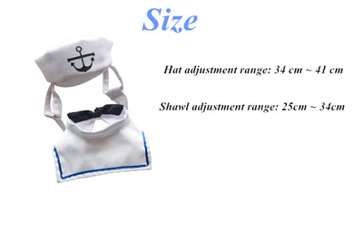 Pet Navy suit with Hats Bow Tie For Dogs and Cats Clothing