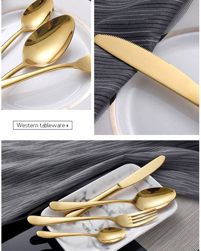 Cutlery Set with 304 Stainless Steel European Style Dinnerware 4 Pcs/set