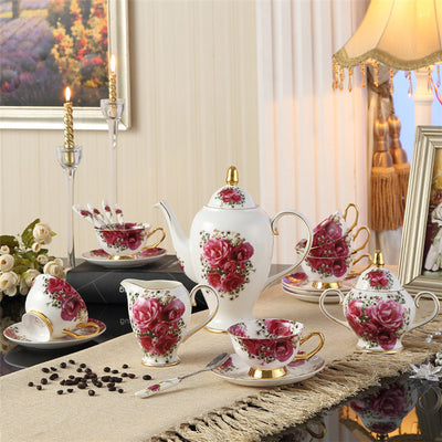European Vintage Rose Coffee Set with Porcelain Ceramic Tea set