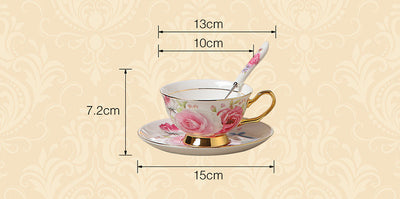 European Romantic Rose Coffee Set with Porcelain Ceramic Tea Set