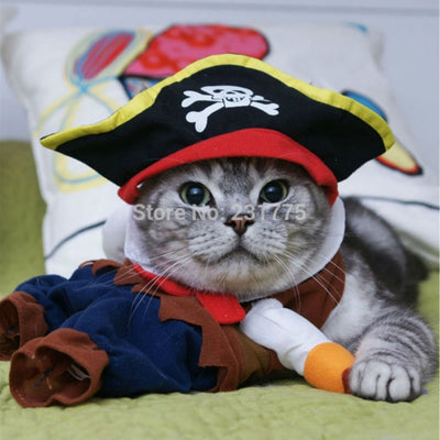Cat Costumes and Dog Costumes with Hat and Suit For Pet Clothing