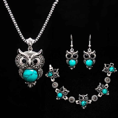 Owl Necklace Set with Bracelet and Earrings for Women Jewelry