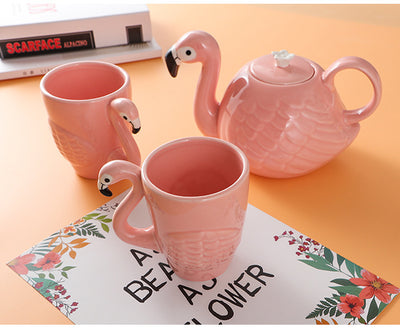 3D Flamingo Teapot and Tea Cup Set and with Exquisite Design