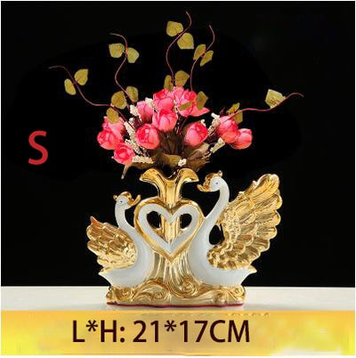 Swan Vase Ornaments with Ceramic Tabletop Vase for Home Decor Crafts