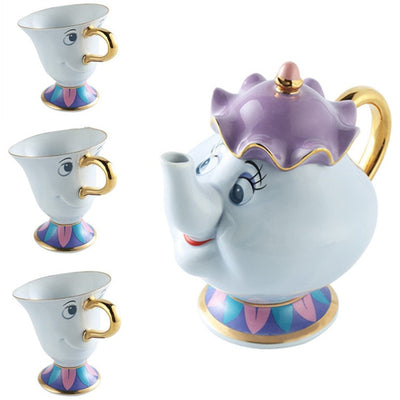 Coffee Pot Cup Set with Beauty and The Beast Collection