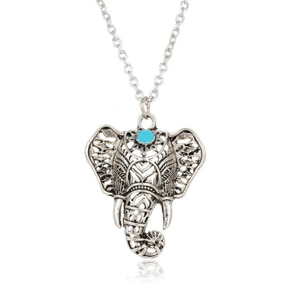 Gypsy Vintage Silver Elephant Necklace for Jewelry