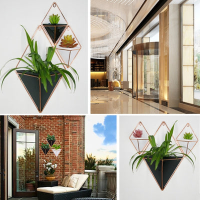 Wall Vase with Acrylic flower Pot and Iron Planter Hanging Set for Home Decor