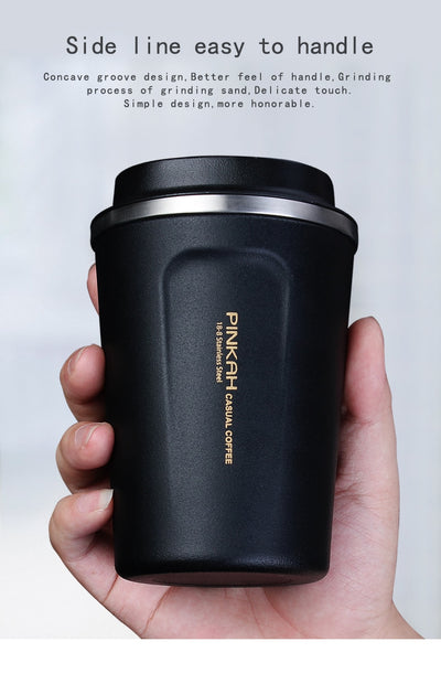 304 Stainless Steel Coffee Mug with Lid Vacuum Thermocup