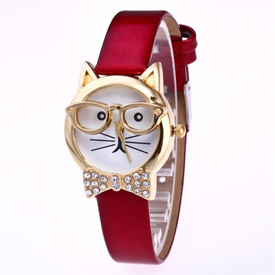 Cat Watch with Leather Fashion Female Watch