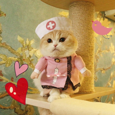 Cat and Dog Costumes with Doctor Nurse Cosplay Suit for Pet Clothing